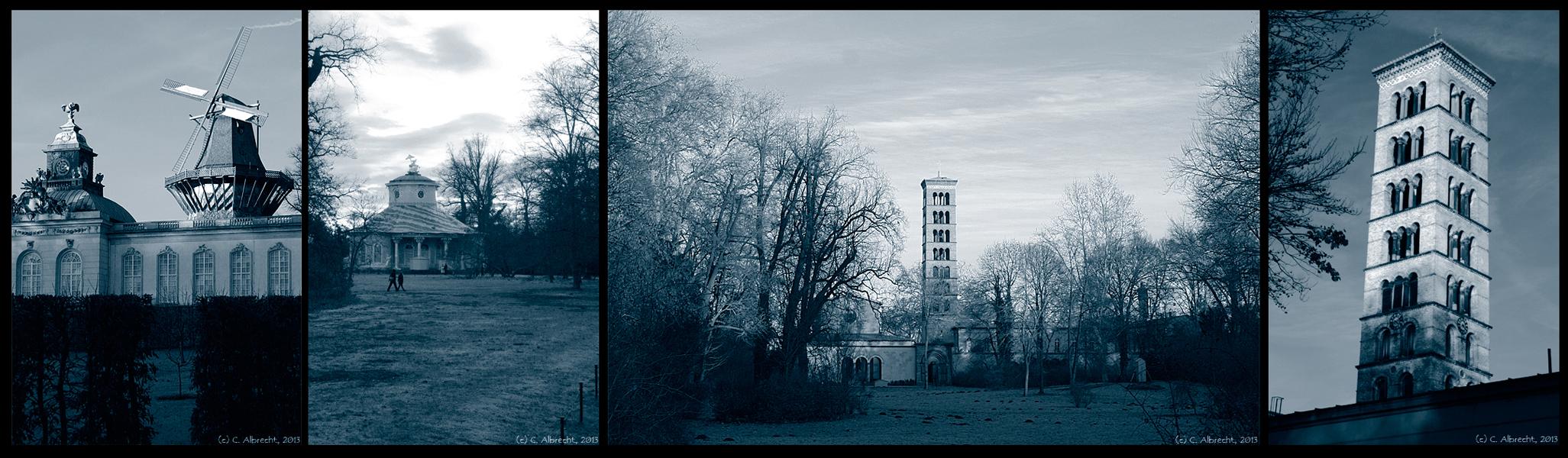 Parkimpressionen: Windmühle, Teehaus, Friedenskirche