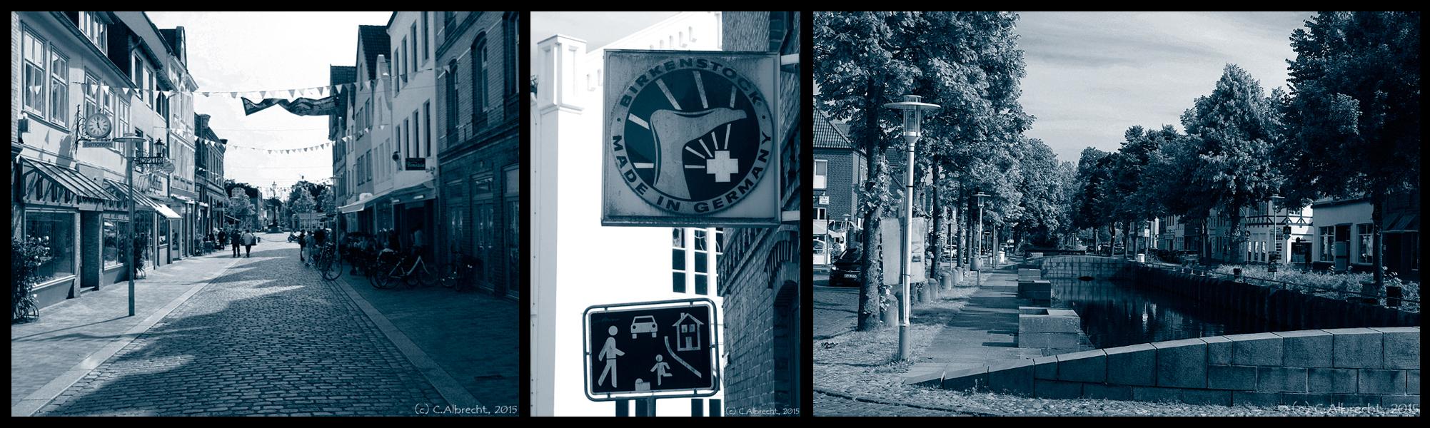 Birkenstock zwischen Fußgängerzone und Fleth